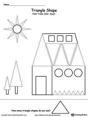 Triangle Worksheet for Kindergarten Find Trace Color and Count the Shapes Triangle