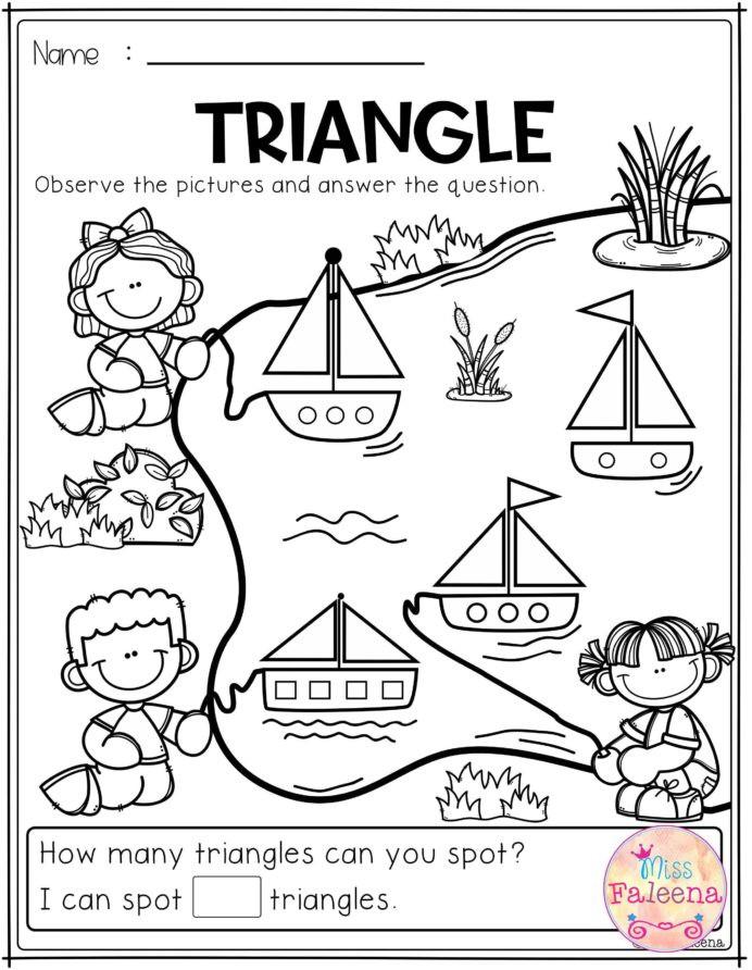 Triangle Worksheet for Kindergarten Free Kindergarten Math Practice Triangle Worksheets