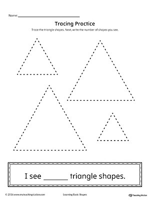 Triangle Worksheet for Kindergarten Geometric Shape Counting and Tracing Triangle