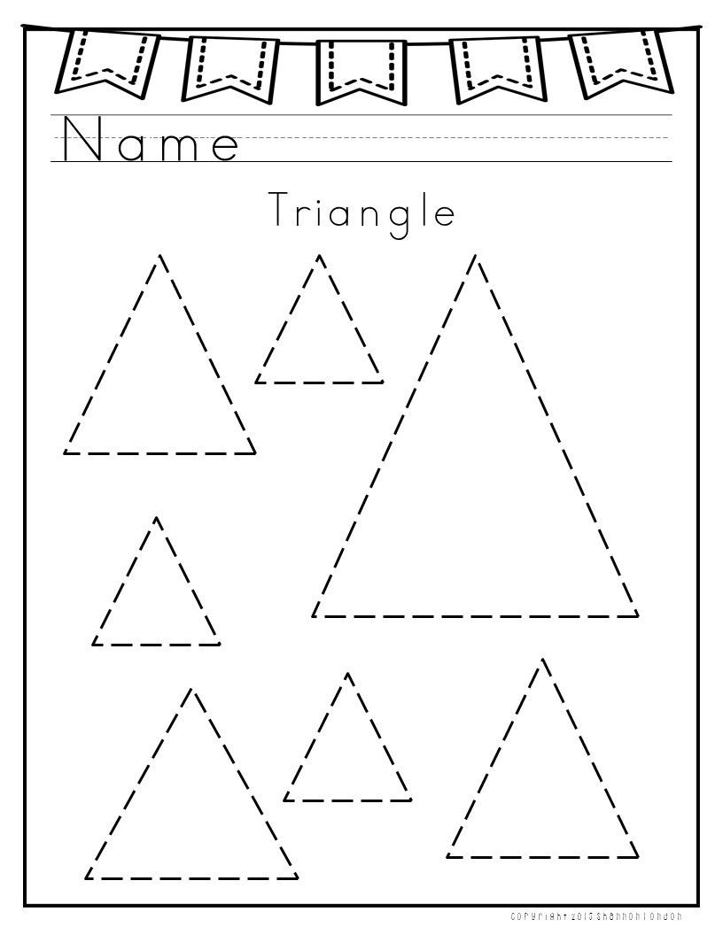 Triangle Worksheet for Kindergarten I Use these Worksheets with My Preschoolers to Practice