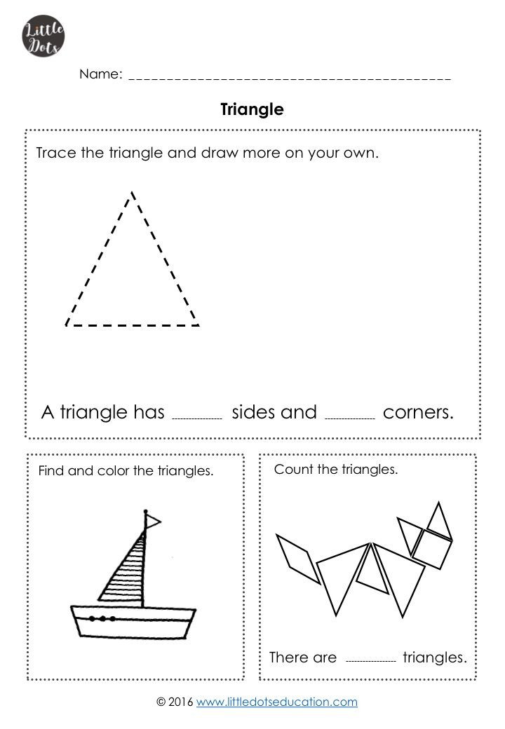 Triangle Worksheet for Kindergarten Kindergarten Math Shapes Worksheets and Activities