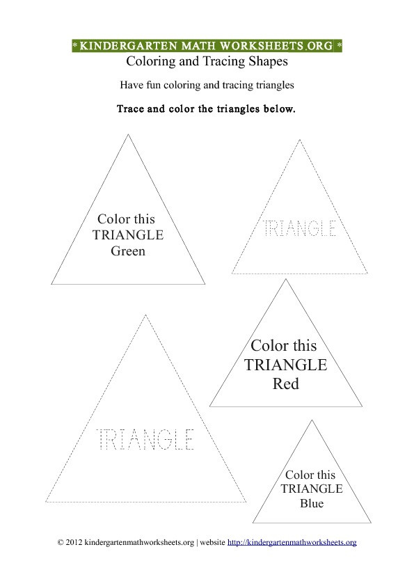 Triangle Worksheet for Kindergarten Kindergarten Shapes Triangles Worksheet