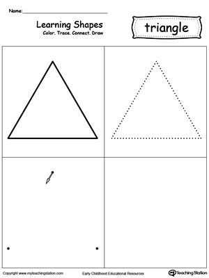 Triangle Worksheet for Kindergarten Learning Shapes Color Trace Connect and Draw A Triangle