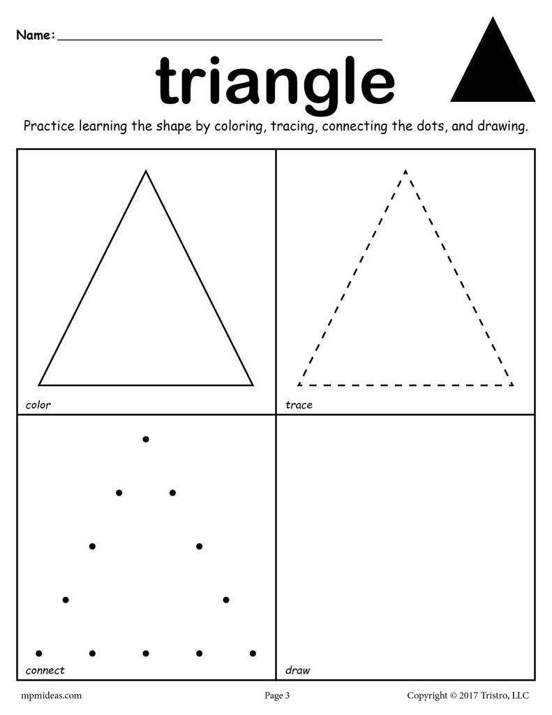 Triangle Worksheet for Kindergarten Triangle Shape Worksheet Color Trace Connect & Draw