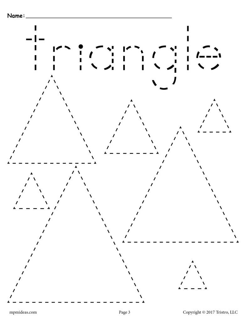 Triangle Worksheet for Kindergarten Triangles Tracing Worksheet