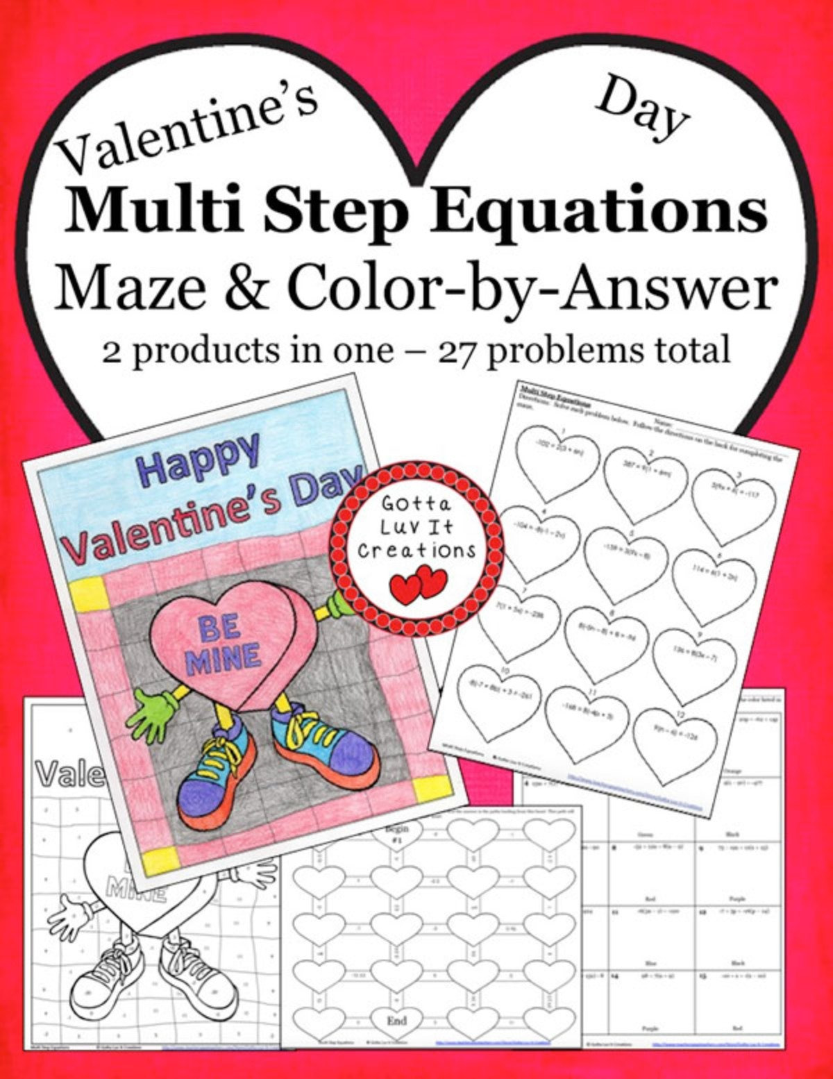 Two Step Equations Coloring Worksheet Valentine S Day Multi Step Equations Maze & Color by Answer