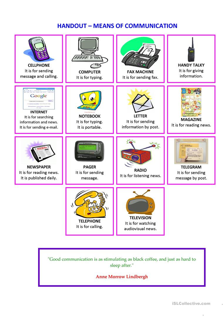Typing Worksheets Printables Handout Means Of Munication English Esl Worksheets for