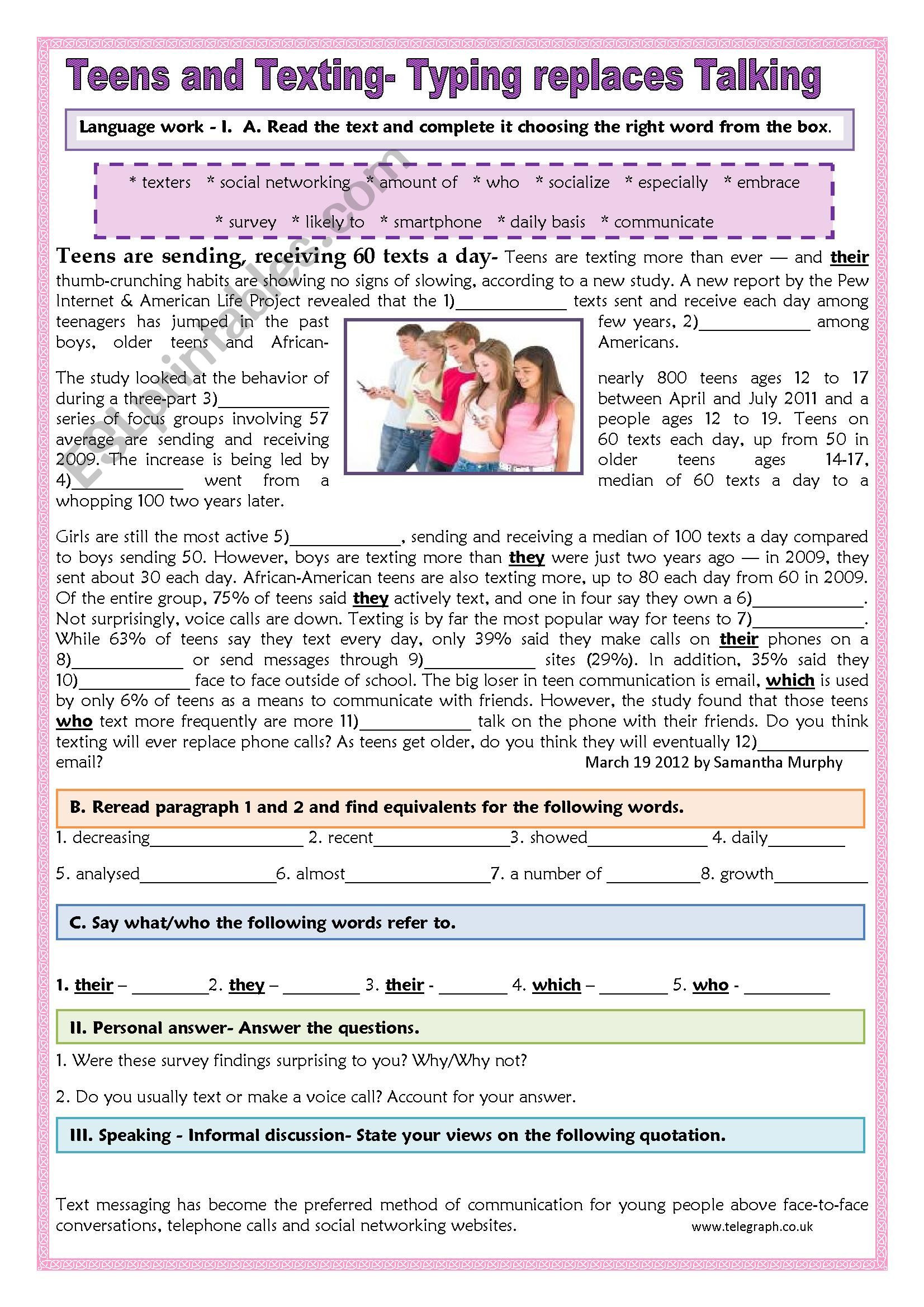 Typing Worksheets Printables Teens and Texting Typing Replaces Talking Esl Worksheet by