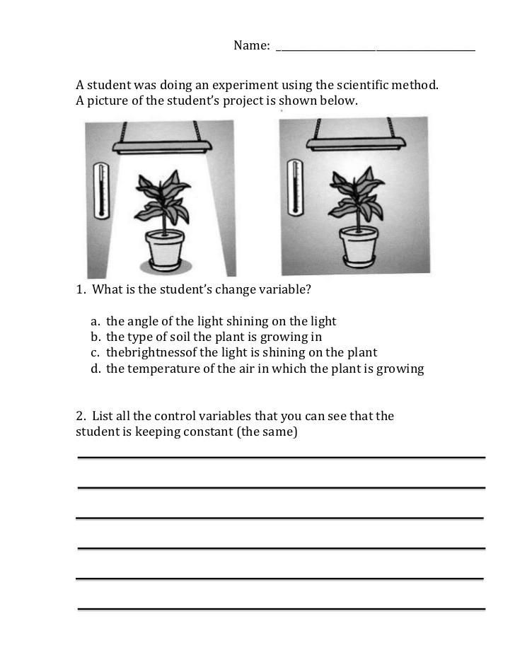 Variables Worksheets 5th Grade Scientific Method Variables Worksheet