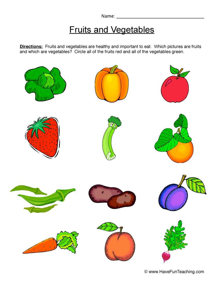 Vegetable Worksheets for Kindergarten Fruits and Ve Ables Worksheet