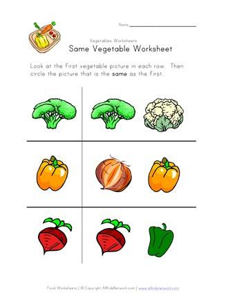 Vegetable Worksheets for Kindergarten Same Ve Able Worksheet