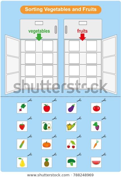Vegetable Worksheets for Kindergarten sorting Fruits Ve Ables Inrefrigerator Worksheet