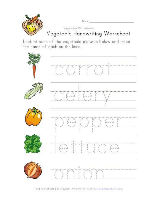 Vegetable Worksheets for Kindergarten Ve Able Handwriting Worksheet