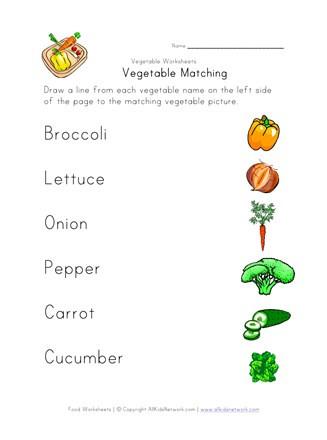 Vegetable Worksheets for Kindergarten Ve Able Matching Worksheet