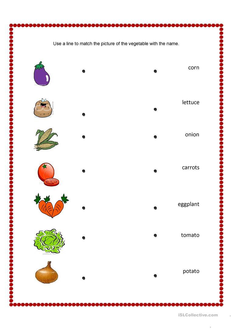Vegetable Worksheets for Preschool English Esl Fruit and Ve Ables Worksheets Most