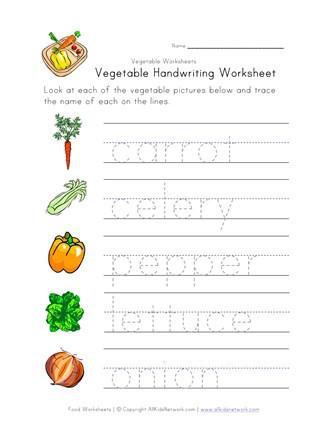 Vegetable Worksheets for Preschool Ve Able Writing Worksheet