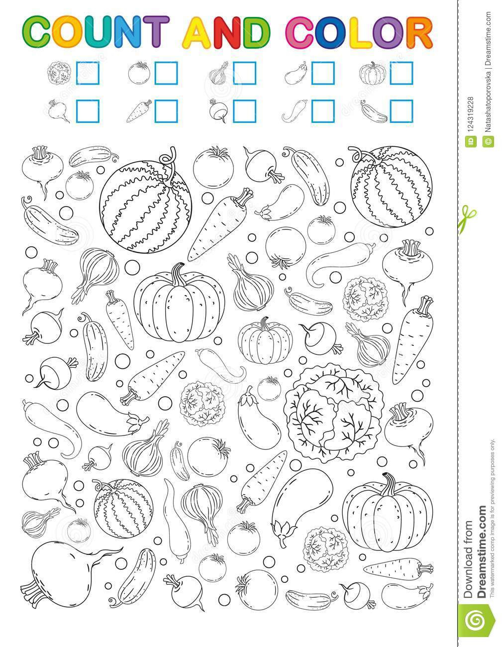 Vegetables Worksheets for Kindergarten Coloring Book Page Count and Color Printable Worksheet for
