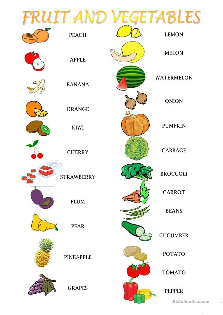 Vegetables Worksheets for Kindergarten English Esl Fruit and Ve Ables Worksheets Most