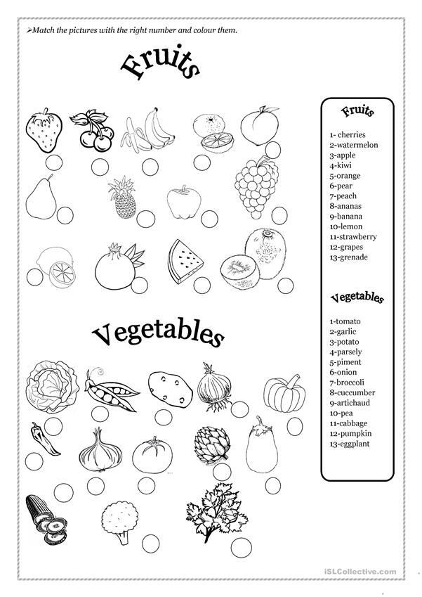 Vegetables Worksheets for Kindergarten Fruits and Ve Ables
