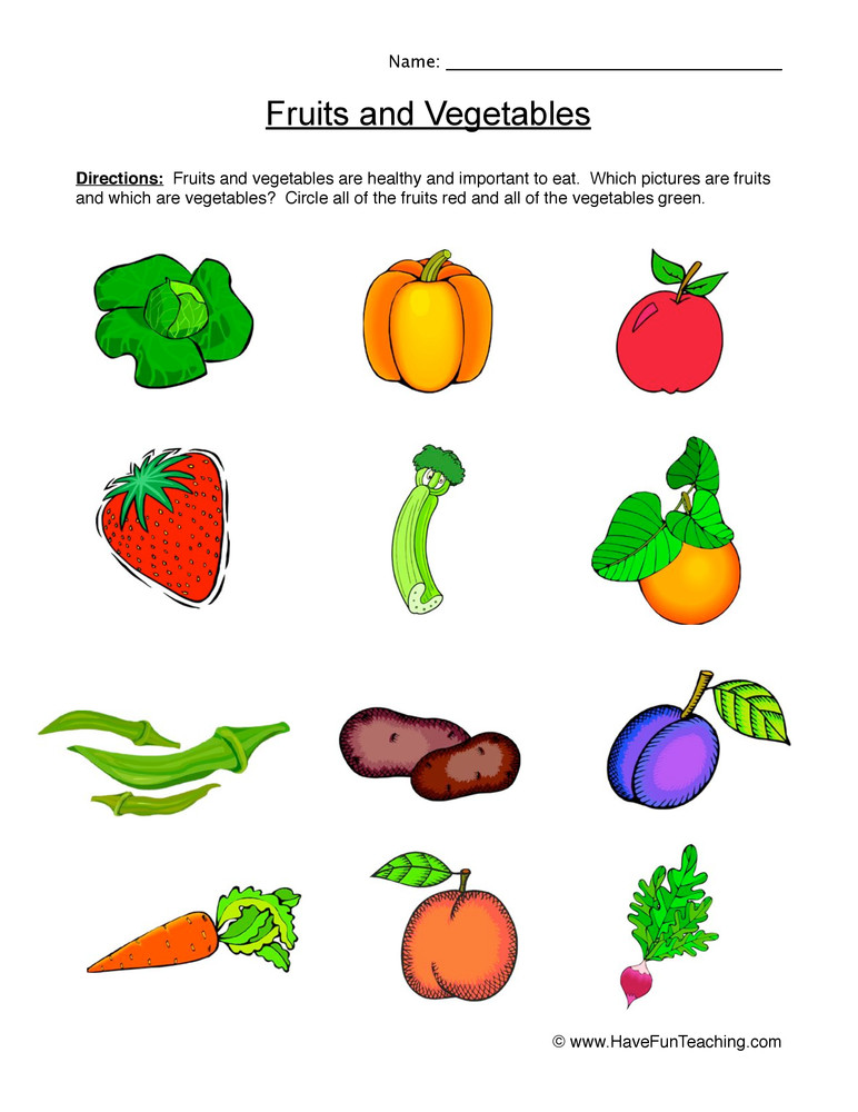 Vegetables Worksheets for Kindergarten Fruits and Ve Ables Worksheet