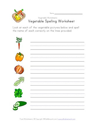 Vegetables Worksheets for Kindergarten Ve Able Spelling Worksheet