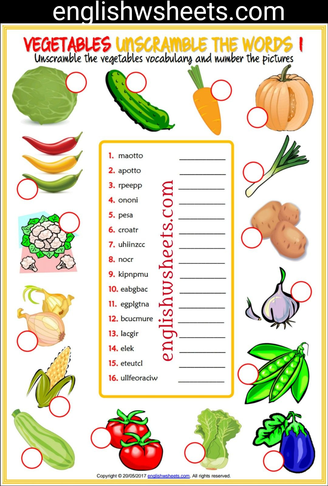 Vegetables Worksheets for Kindergarten Ve Ables Esl Printable Vocabulary Worksheets