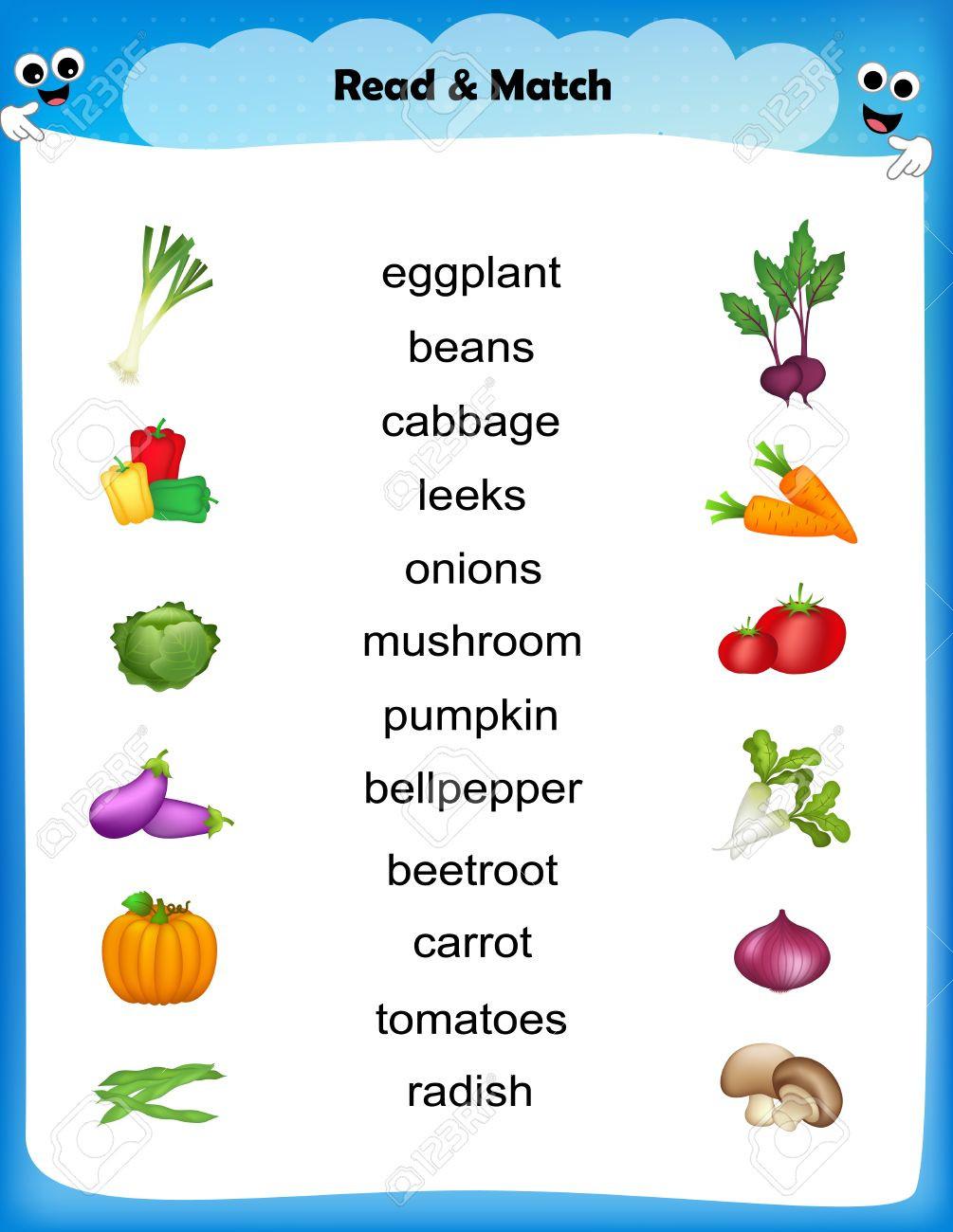Vegetables Worksheets for Kindergarten Worksheet Match Ve Able Images with their Names Worksheet