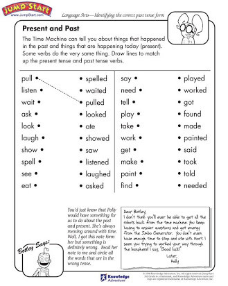 Verb Tense Worksheets 1st Grade Free Printable Past Tense Verb Worksheets