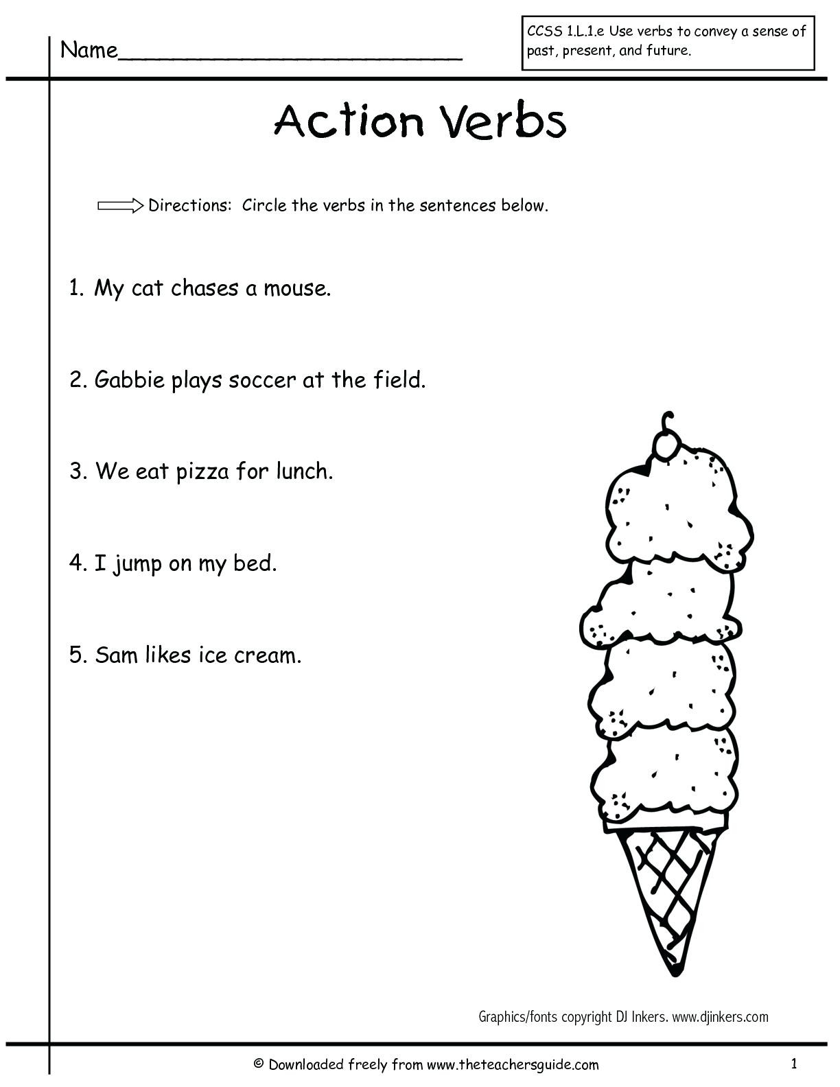 Verb Tense Worksheets 1st Grade Present Tense Verbs Worksheets for 1st Grade لم يسبق له Ù…Ø ÙŠÙ""