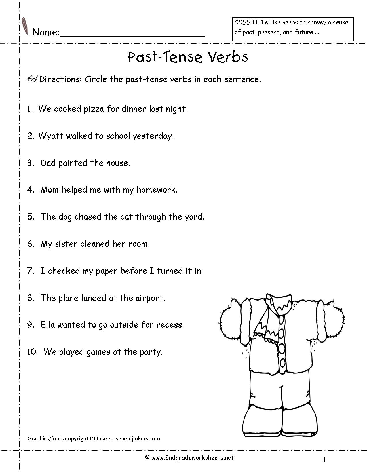 Verb Tense Worksheets 1st Grade Verbs Worksheets Grade 6