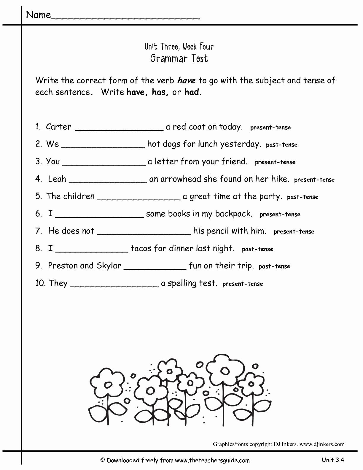 Verb Worksheet 2nd Grade 2nd Grade Grammar Worksheets Pdf New Worksheets for All