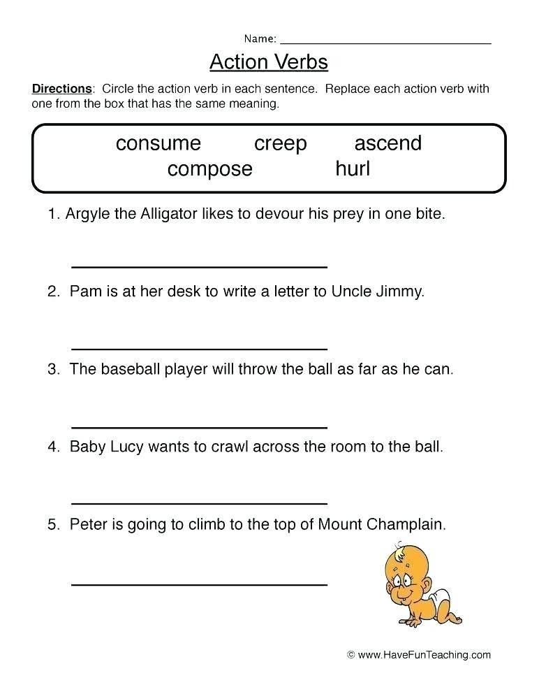 Verb Worksheet 2nd Grade Action Verb Worksheets 2nd Grade – Keepyourheadup