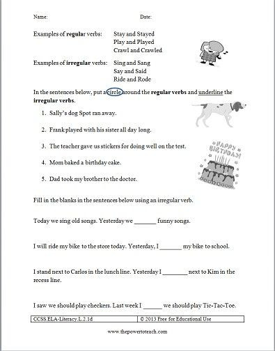 Verb Worksheet 2nd Grade Free Irregular Verbs Worksheet for Second Grade Mon Core