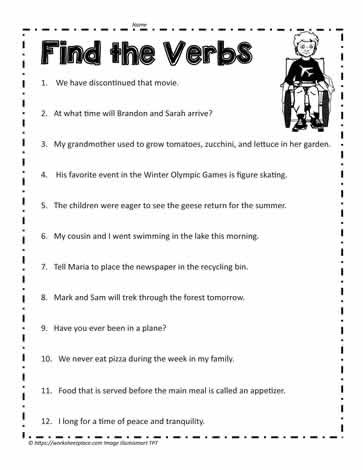 Verbs Worksheet 4th Grade Verb Worksheet Worksheets