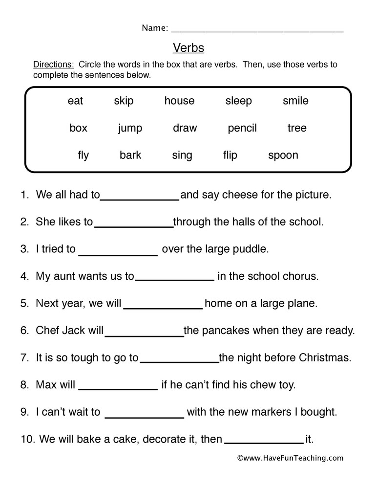 Verbs Worksheets for 1st Grade Fill In the Blanks Verb Worksheet
