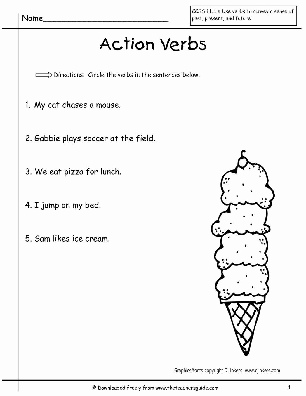 Verbs Worksheets for 1st Grade First Grade Verb Worksheets