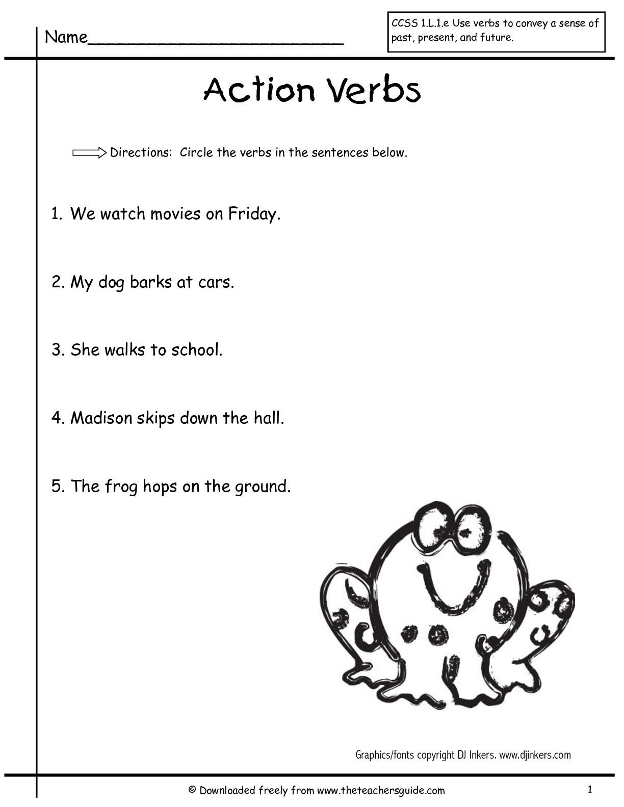 Verbs Worksheets for 1st Grade Second Grade Verb Worksheets