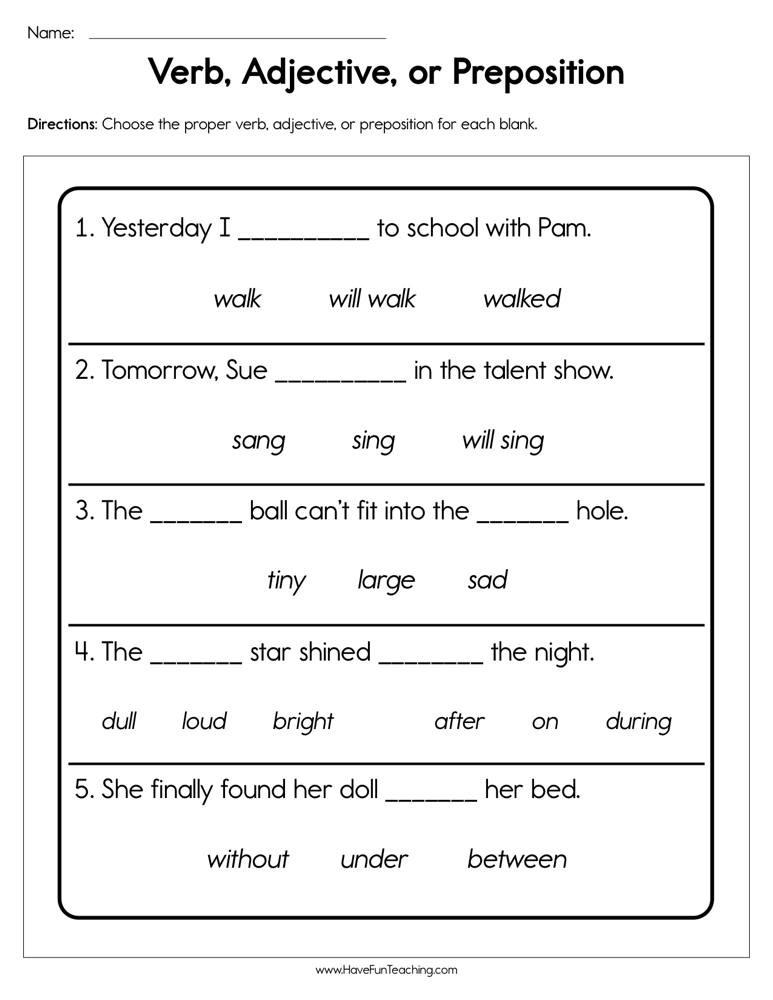 Verbs Worksheets for 1st Grade Verb Adjective or Preposition Worksheet