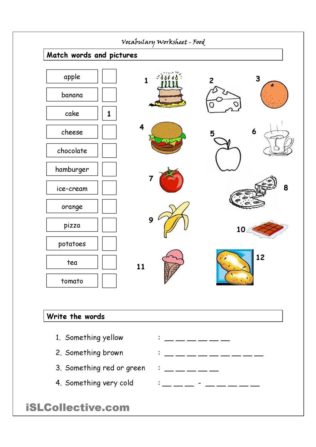 Vocabulary Worksheets for 1st Graders Vocabulary Matching Worksheet Food