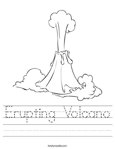 Volcano Worksheets for Kindergarten Erupting Volcano Worksheet Twisty Noodle