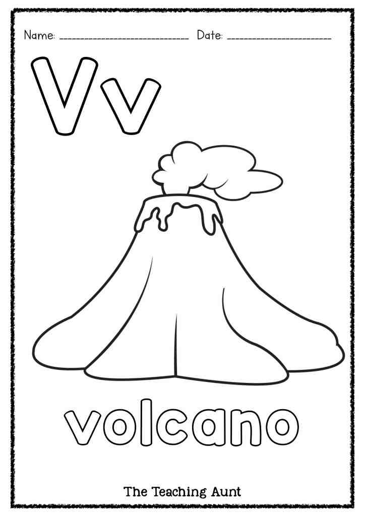 Volcano Worksheets for Kindergarten V is for Volcano Art and Craft the Teaching Aunt