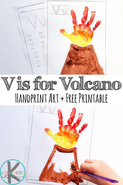Volcano Worksheets for Kindergarten V is for Volcano Hand Art