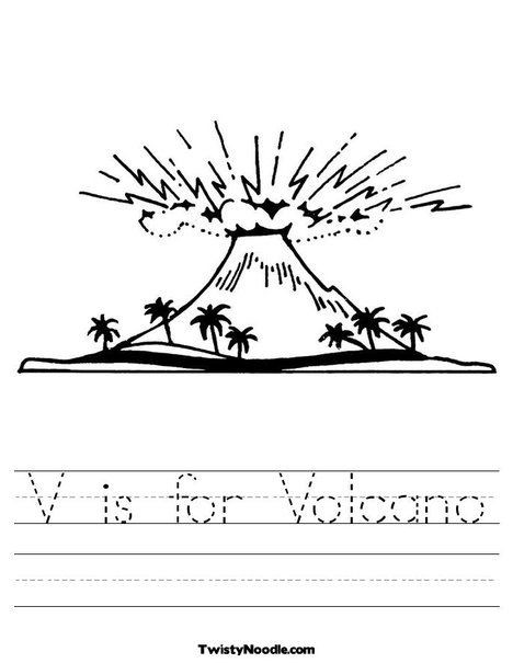 Volcano Worksheets for Kindergarten V is for Volcano Worksheet