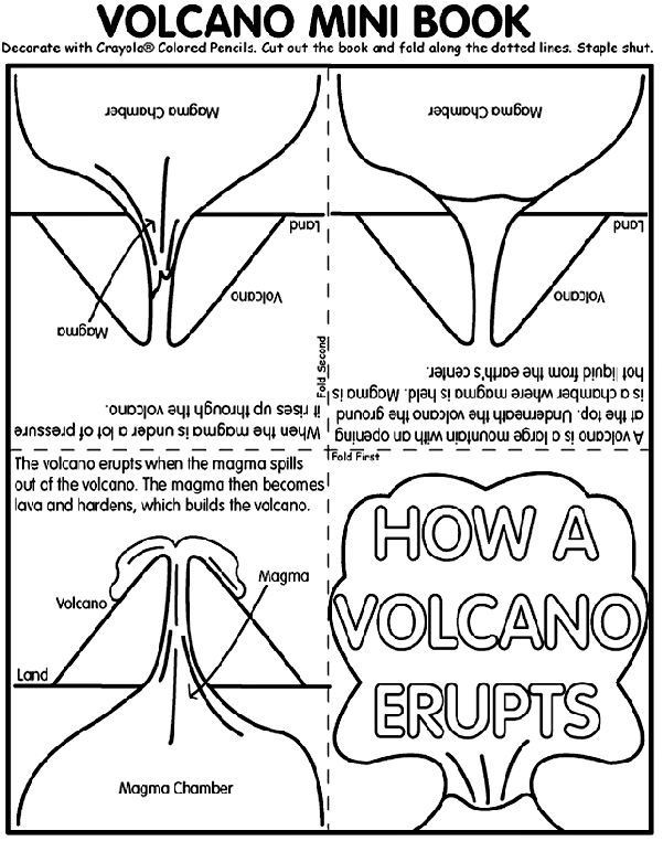 Volcano Worksheets for Kindergarten Volcano Coloring Worksheet