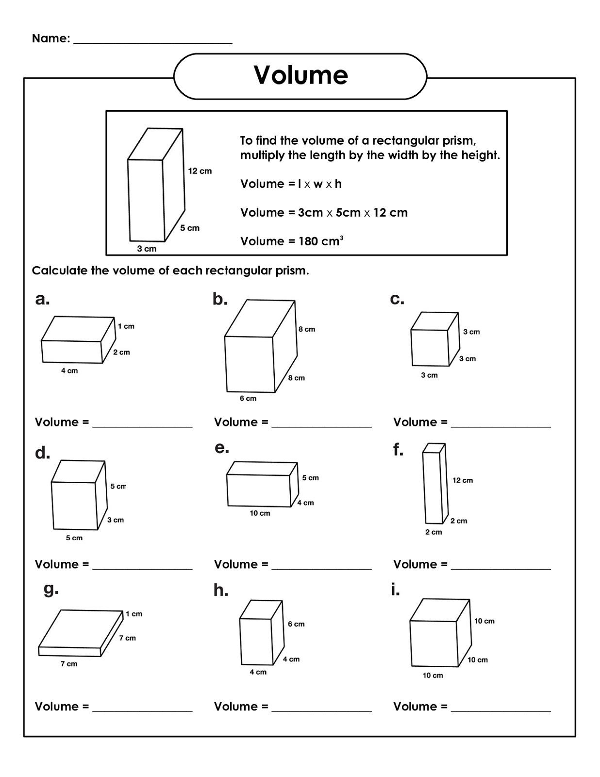 Volume Worksheet 4th Grade 5th Grade Math Worksheets