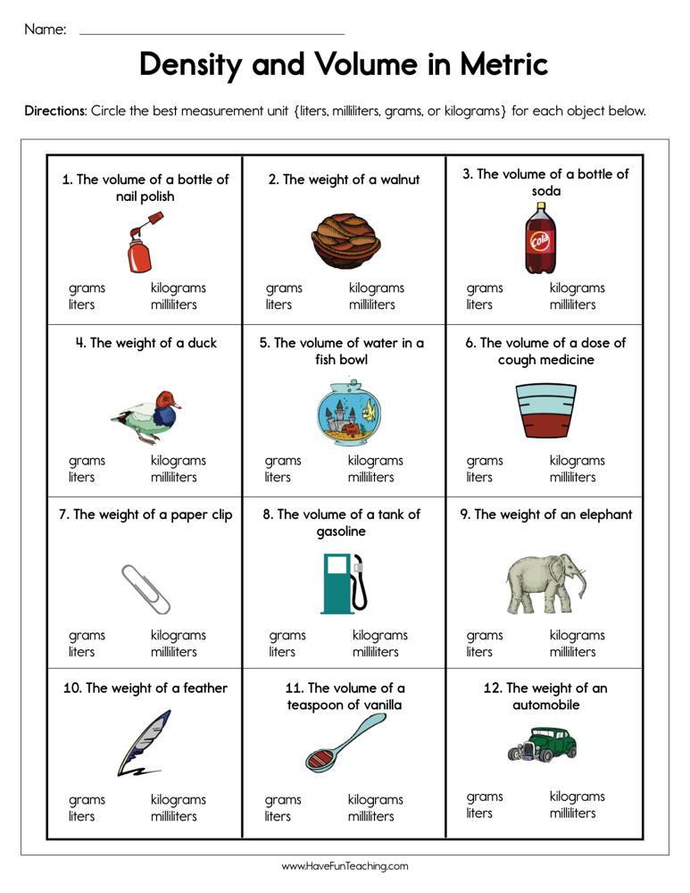 Volume Worksheet 4th Grade Density and Volume In Metric Worksheet