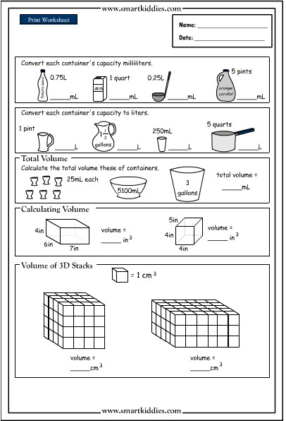 Volume Worksheet 4th Grade Math Volume Worksheets & Geometry Worksheets Geometry
