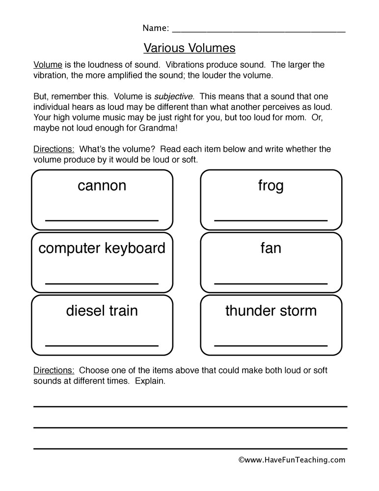 Volume Worksheet 4th Grade sound Volume Worksheet