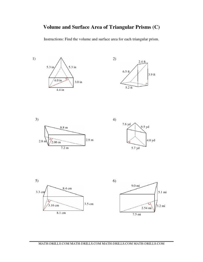 Volume Worksheet 4th Grade the Volume and Surface area Triangular Prisms Math Length