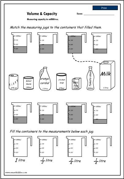 Volume Worksheet 4th Grade Volume and Capacity Worksheet